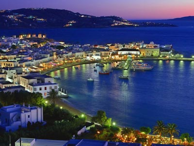 the port of mykonos in the cyclades SMALL