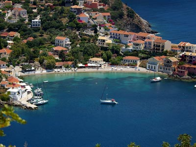 aerial view of the port of kefalonia